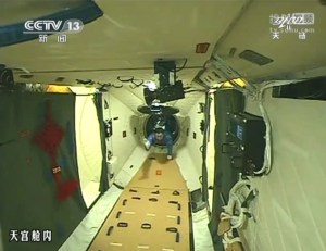 Shenzhou-9 commander Jing Haipeng, the first human to board Tiangong-1 (Credits: CNTV).