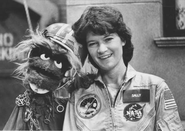 Ride made a point of reaching out to children, especially girls, as when seen here appearing on the television show Sesame Street in 1984 (Credits: Dave Pickoff/AP).