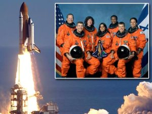 The launch of STS-107 on January 16, 2003. Inset: The Columbia crew (Credits: NASA).