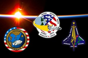 Patches from the Apollo 1, Challenger STS-51-L, and Columbia STS-107 missions (Credits: NASA).