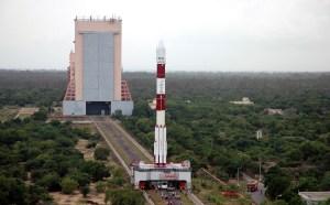 The Polar Satellite Launch Vehicle (PSLV) at Sriharikota launch site from (Credits: ISRO).