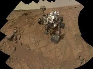Curiosity self-portrait compiled from 66 images taken February 3 from the site of its first rock drilling (Credits: NASA).