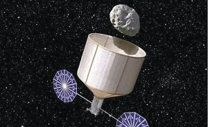 Keck's asteroid capture concept (Credits: Rick Sternbach/Keck Institute for Space Studies).