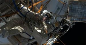 Cosmonaut Roman Romanenko on his first EVA (Credits: NASA).