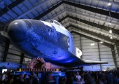 Celebrating Yuri's Night under the Space Shuttle Endeavour at the California Science Center (Credits: Yuri's Night).