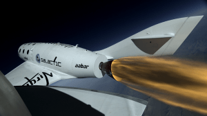 """SpaceShipTwo """"lights the candle"""" over Mojave (Credits: Virgin Galactic)."""