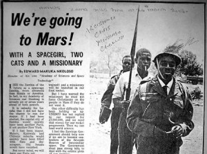 The controversial newspaper article about Zambia's space program. The godfather of the project, Edward Makuka Nkoloso, is in the front (Credits: Erik R. Trinidad, THEGLOBALTRIP.COM).