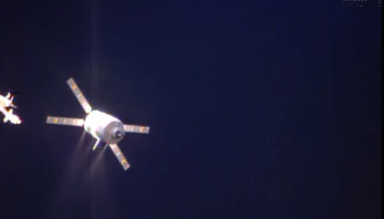 ATV-4 firing thrusters approaching S3 hold point (Credits: NASA).