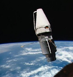 "With the ""jaws"" of its docking collar shroud stuck partially open, the Augmented Target Docking Adaptor (ATDA) presented an alligator-like appearance to Tom Stafford and Gene Cernan (Credits: NASA)."
