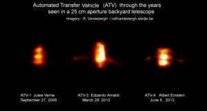Ground-based images of 3 versions of the ATV-cargocraft captured from 2008 to 2013