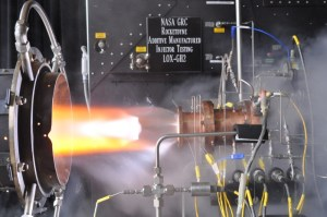 Hot fire test in in the Rocket Combustion Laboratory at NASA Glenn Research Center (Credits: NASA).