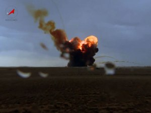 A fire shows where the Proton-M crashed at Baikonour Cosmodrome on July 1. The combustion of 600 tons of fuel may have prevented a more serious environmental catastrophe (Credits: Roscosmos/Vesti.ru).
