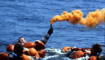 France's first man in space, Jean-Loup Chretien, releases a flare during Black Sea training for his June 1982 mission. (Credits: SpaceFacts.de/Joachim Becker).
