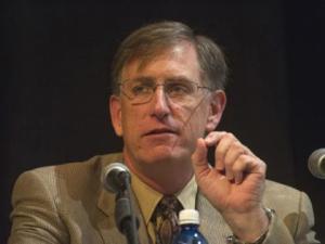 Dan Dumbacher at a panel at Marshall Space Flight Center (Credits: NASA).