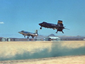 X-15 and F-104A chase plane landing. (NASA)