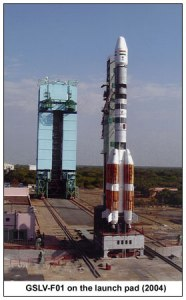Standing 161 feet tall, the GSLV is a three-stage vehicle and is supplemented by four strap-on liquid-fuelled rocket boosters (Credits: ISRO).