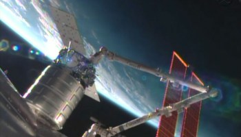 The Cygnus commercial resupply craft is installed by the Canadarm2 to the Harmony node (Credits: NASA).
