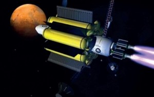 Artist's conception of a deep space spaceship, using water tanks as radiation shielding (Credits: NASA).