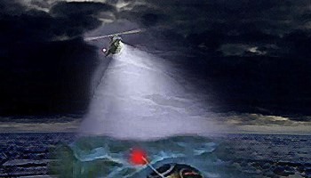 Artist's impression of the flashing beacon atop the Soyuz 23 descent module attracting the attention of a rescue helicopter. The spacecraft performed the Soviet Union's first (unintended) water splashdown in the icy Lake Tengiz (Credits: Joachim Becker / SpaceFacts.de).