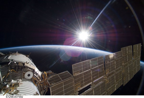 Sunrise for ISS captured by an STS-129 crew member in 2009 (Credits: NASA).