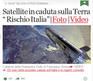 "Headlines of ""Corriere della Sera,"" the main Italian newspaper. Translation is ""Satellite falling on Earth. Italy at risk"" (Credits: Space Safety Magazine)."