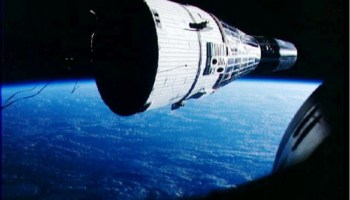 Beautiful view of Wally Schirra and Tom Stafford's Gemini VI-A spacecraft, viewed by astronauts Frank Borman and Jim Lovell aboard Gemini VII. Schirra's gutsy decision to sit tight after the 12 December pad abort ensured that this historic rendezvous mission could go ahead (Credits: NASA).
