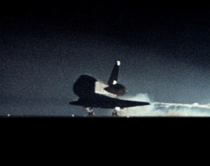"Columbia swoops like a bird of prey into Edwards Air Force Base on 18 January 1986, just 10 days ahead of the Challenger tragedy. Commander Robert ""Hoot"" Gibson would later refer to this mission as ""The End of Innocence"" … for after Challenger the shuttle program would never be the same again (Credits: NASA)."