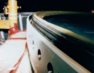 Close-up view of the rubberized O-ring seals within the Solid Rocket Booster casing. These seals were intended to prevent a leakage of hot gases, but on Mission 51L they failed spectacularly (Credits: NASA).