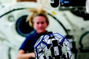 Synchronized Position Hold, Engage, Reorient, Experimental  Satellites, or SPHERES, may not be humanoid  but that doesn't mean they can't be helpful. These bowling ball sized robots are being used to perform environmental monitoring and maintenance aboard the International Space Station (Credits: NASA).