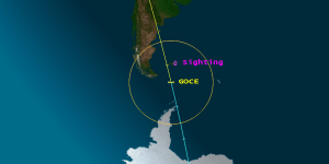 Circle indicates area of GOCE reentry sightings (Credits: The Aerospace Corporation).