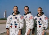 The Apollo 9 crew of (left to right) Jim McDivitt, Dave Scott, and Rusty Schweickart began training to support the D mission in 1966. Their spectacular test flight cleared another hurdle on the road to planting American bootprints on the Moon (Credits: NASA).