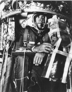 Dr. David Simons, in his Man High capsule, oversaw projects that sent animals sent to Earth's upper atmosphere via balloons. Eventually, he went himself (Credits: USAF/NMMSH Archives).