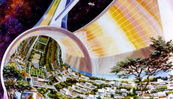 The Stanford Torus, one of several designs proposed by O'Neill, would house around 10,000 people in its central ring (Credits: Rick Guidice/NASA Ames Research Center).