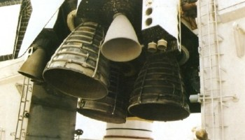 Close-up view of Discovery's three main engines—still exhibiting evidence of scorching from their momentary ignition on 26 June 1984—in the wake of the shuttle program's first RSLS abort. (Credist: NASA).