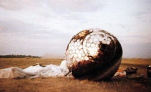 Gagarin's Vostok-1 capsule, scorched and (it is said) heavily damaged from the furnace-heat of re-entry, had kept the cosmonaut alive for 108 adrenaline-charged minutes (Credits: Roscosmos/Alldayru.com).
