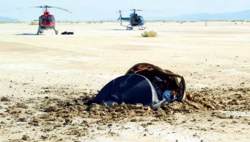 The Genesis sample return capsule on the ground in Utah. Missions like Genesis, which returned particles of solar wind, face less stringent requirements in terms of planetary protection (Credits: NASA/JPL).