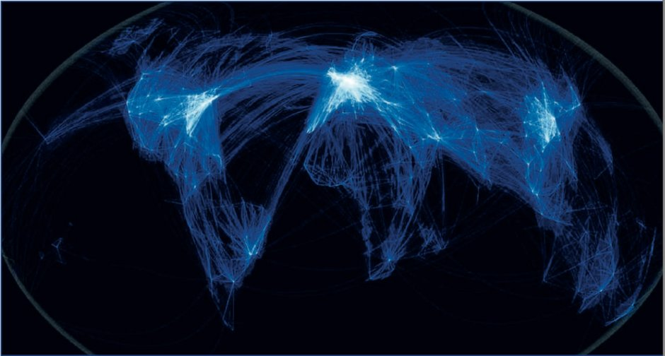 Global air traffic paths.