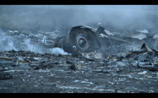Debris at the crash site of Malaysia Airlines Flight MH17 in Ukraine