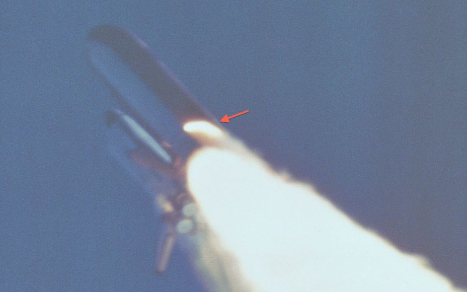 A breach in the motor casing of Challenger's Solid Rocket Booster.