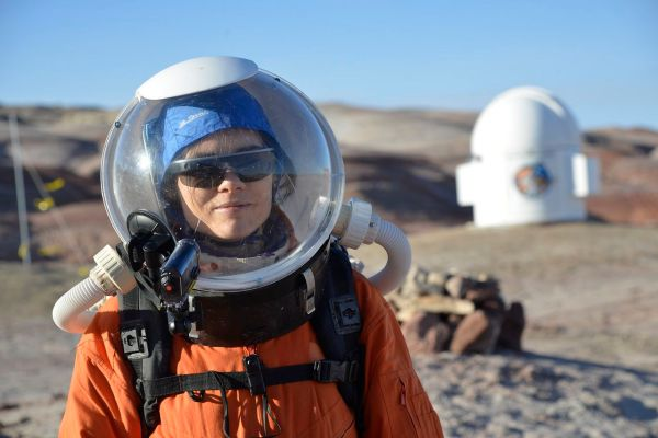 Journalist Tereza Pultarova in a Mars mission simulation.