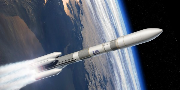 Artist's view of the Ariane 6 four boosters configuration (A64). - Credits: ESA.