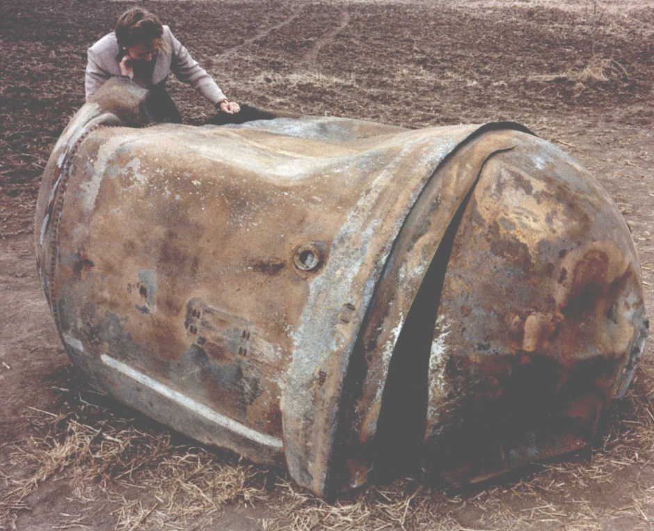 Main propellant tank of the second stage of a Delta 2 launch vehicle which landed near Georgetown, TX (Year - 1997), which weighs about 250 kg tank. Credits: NASA