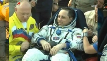 Expedition 43 Commander Terry Virts of NASA, Flight Engineers Anton Shkaplerov of the Russian Federal Space Agency (Roscosmos) and Samantha Cristoforetti of ESA (European Space Agency) touched down at 9:44 a.m. EDT (7:44 p.m., Kazakh time), southeast of the remote town of Dzhezkazgan in Kazakhstan. Credits: NASA TV