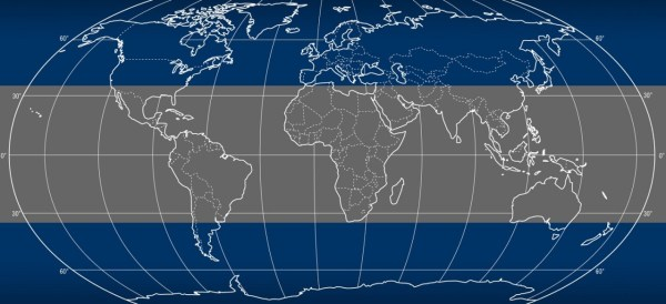 Because TRMM's orbit brings it only over the tropics between 35 degrees North latitude and 35 degrees South latitude, Europe, Russia and most of North America and Japan are outside of the potential re-entry area (shown here in gray). (Credits: NASA)