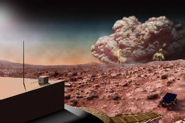 This artists concept illustrates a Martian dust storm, which might also crackle with electricity. Credits: NASA
