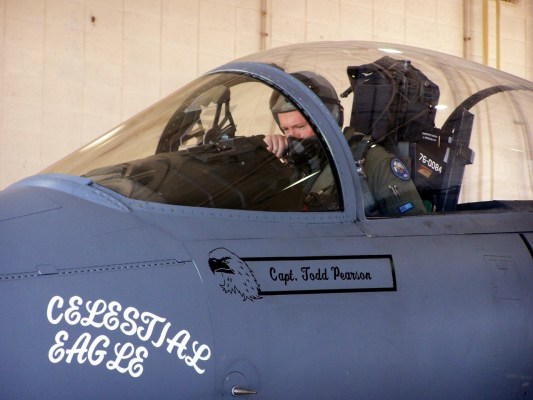 "Capt. Todd Pearson, during the Celestial Eagle Remembrance Flight in 2007 at Homestead Air Reserve Base, Fla. Captain Pearson's father, retired Maj. Gen. ""Doug"" Pearson, flew the exact same F-15 in 1985.  (Credits: U.S. Air Force photo/Senior Airman Erik Hofmeyer)"