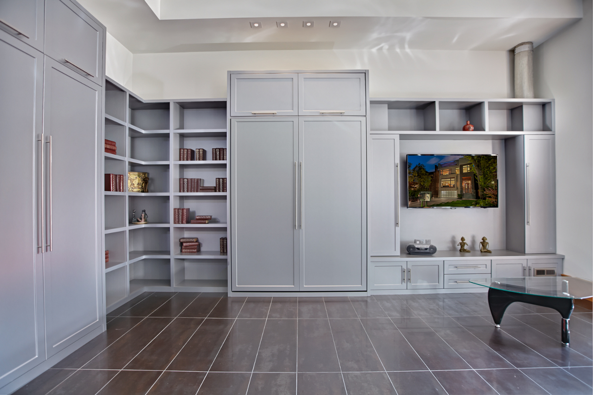 murphy bed in small living room white leather decor the a multi purpose family space solutions wall rosedale midtown
