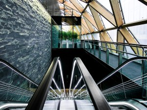 Crossrail Place in Canary Wharf, London, designed by the architect Norman Foster