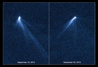 Hubble views extraordinary multi-tailed asteroid P/2013 P5