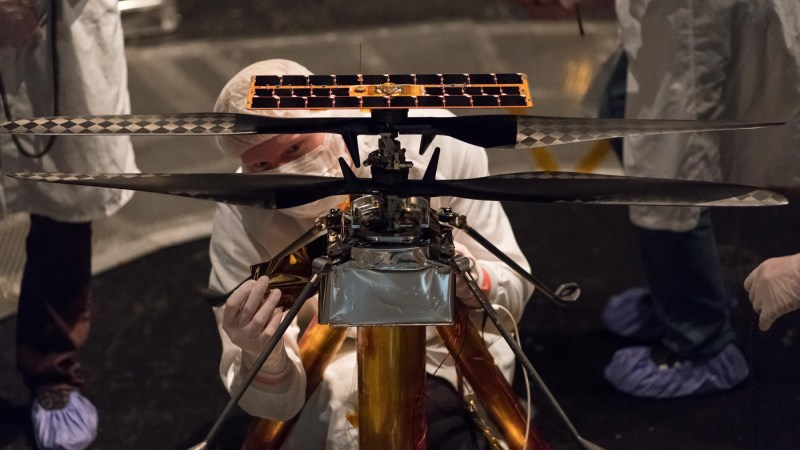 Mars Helicopter Attached to NASA's Mars 2020 Rover